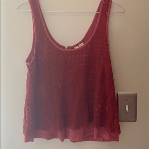 Red lace summer crop top